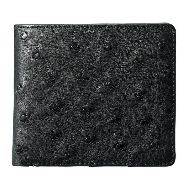 【送料無料】紳士用オーストリッチ財布 ブラック S-NO8250040BK
