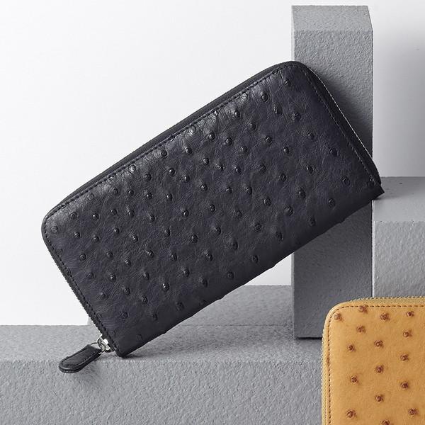 【送料無料】オーストリッチラウンドファスナー長財布ブラックS-NO153106BK