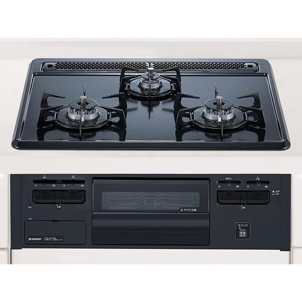【送料無料】HARMAN DG32Q1VQ1-LP ブラック Metal Top [ビルトインガステーブル (プロパンガス用 両側強火タイプ 幅60cm)]