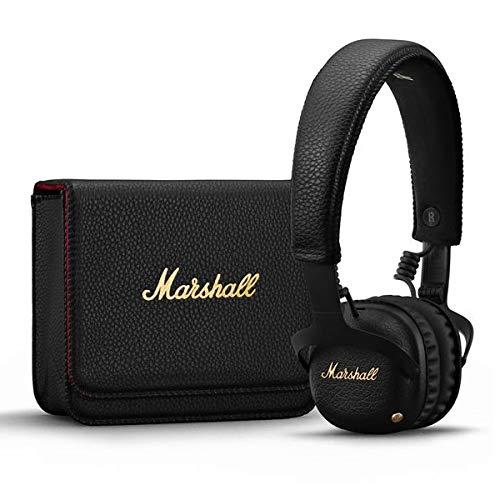Marshall ヘッドホン Bluetooth ワイヤレス 約30時間 ノイズキャンセリング 最大20時間 ヘッドフォン ヘッドホンケース付属 アナログコントロールノブ ハンズフリー通話 aptX 高音質 2台をコードで繋ぐことで音源共有可能 ZMH-04092138 Black MID ANC BLUETOOTH