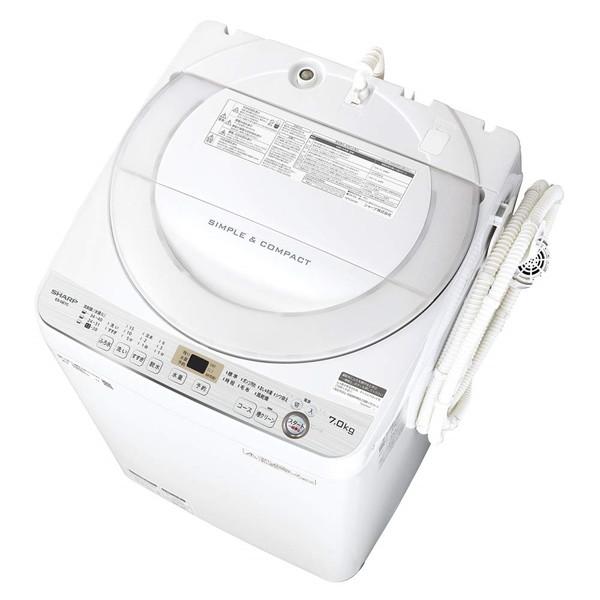 全自動洗濯機 シャープ SHARP ES-GE7C-W 洗濯7kg 簡易乾燥機能付 一人暮らし 単身 単身赴任 同棲 カップル 新生活 家電 ほぐし運転 解消 ガンコ汚れ