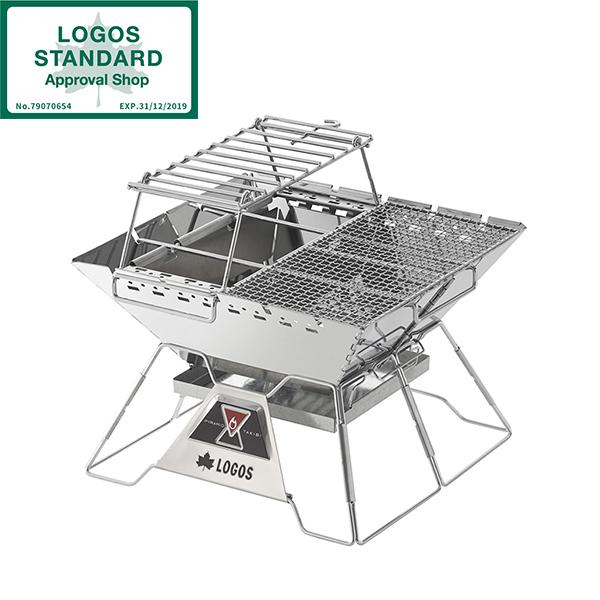 焚き火台 コンパクト 折りたたみ式 ロゴス LOGOS the ピラミッドTAKIBI L コンプリートNo.81064166 SPネット・ファイヤーラック・チャコールデバイダー付属 アウトドア キャンプ BBQ 収納バッグ付き