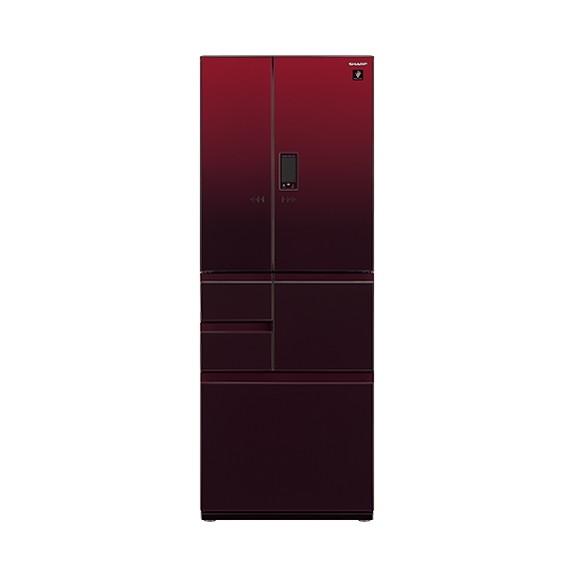 【送料無料】冷蔵庫 シャープ SHARP SJ-GA50E-R 赤 レッド 500L フレンチドア ガラスドア 耐震ロック 電動アシストドア プラズマクラスター 鮮度