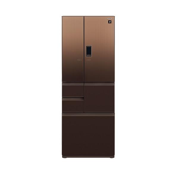 【送料無料】冷蔵庫 シャープ SHARP SJ-GA55E-T エレガントブラウン 茶 550L フレンチドア ガラスドア 耐震ロック 電動アシストドア プラズマクラスター 鮮度