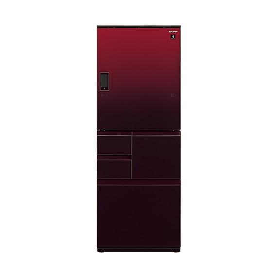 【送料無料】冷蔵庫 シャープ SHARP SJ-WA55E-R 赤 レッド 550L ガラスドア 大型 右開き 左開き 両開き どっちもドア プラズマクラスター 節電
