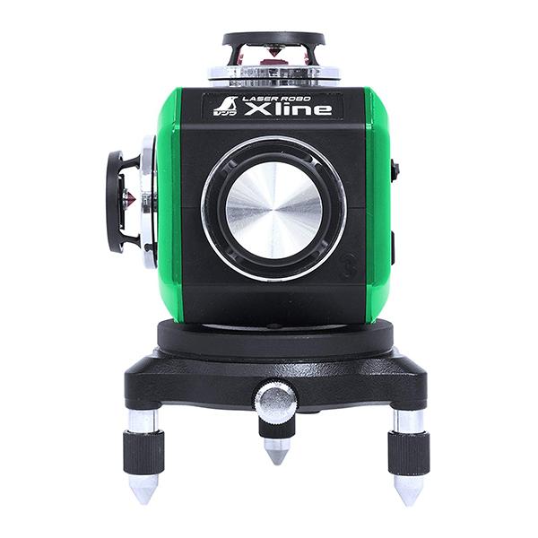 天墨・地墨ラインがクロスする、縦フルライン×2、横フルラインのハイクラスタイプです。コーンミラーを採用して1つの光源での360度照射します。 シンワ測定 レーザー墨出し器 X line-E グリーン フルライン 地墨クロス 71608