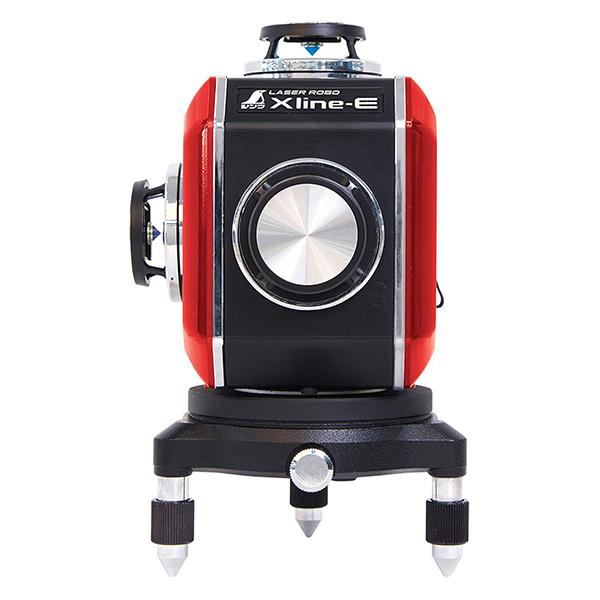 天墨・地墨ラインがクロスする、縦フルライン×2、横フルラインのハイクラスタイプです。コーンミラーを採用して1つの光源での360度照射します。 シンワ測定 レーザー墨出し器 X line-E レッド フルライン 地墨クロス 71609
