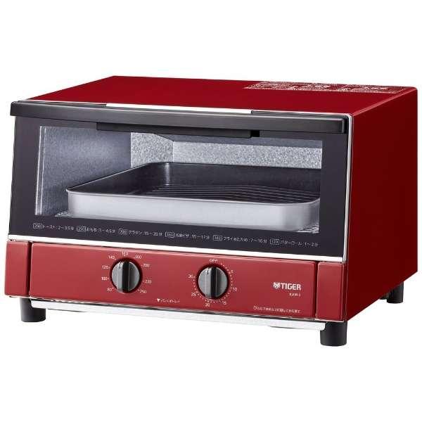 ワイド庫内で、簡単調理&あたため!いろいろな調理シーンに幅広くお応えします。 TIGER KAM-S130-RG グロスレッド やきたて [オーブントースター]