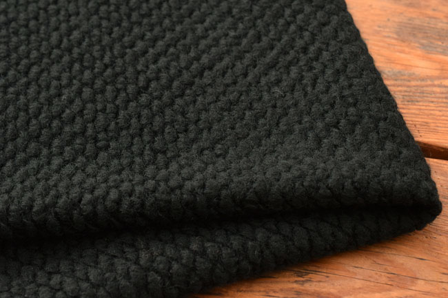 """-140 cm width popcorn knit fabrics wool mixed """"black"""" ♦ is a comfortable touch a gig is like popcorn knit."""