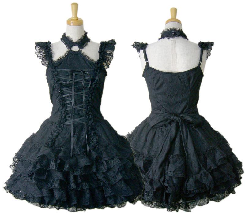 【ハロウィン】【ロリィタ】【ゴスロリ】+G.L.P61020黒段レースフリルジャンパースカート
