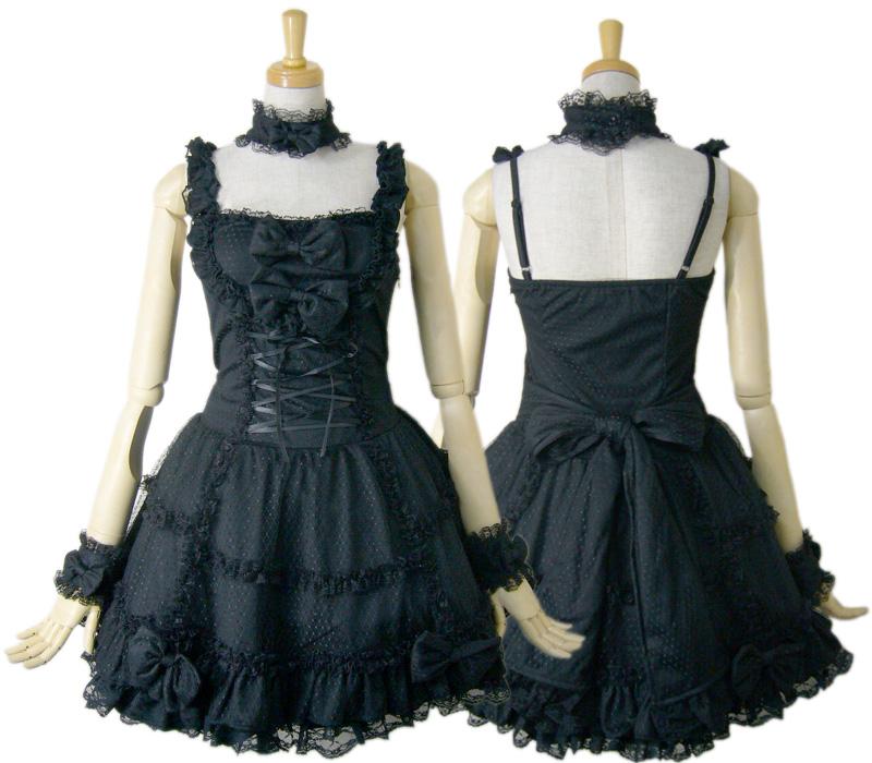 【ハロウィン】【ロリィタ】【ゴスロリ】+G.L.P61036黒ゴシックレースジャンパースカート