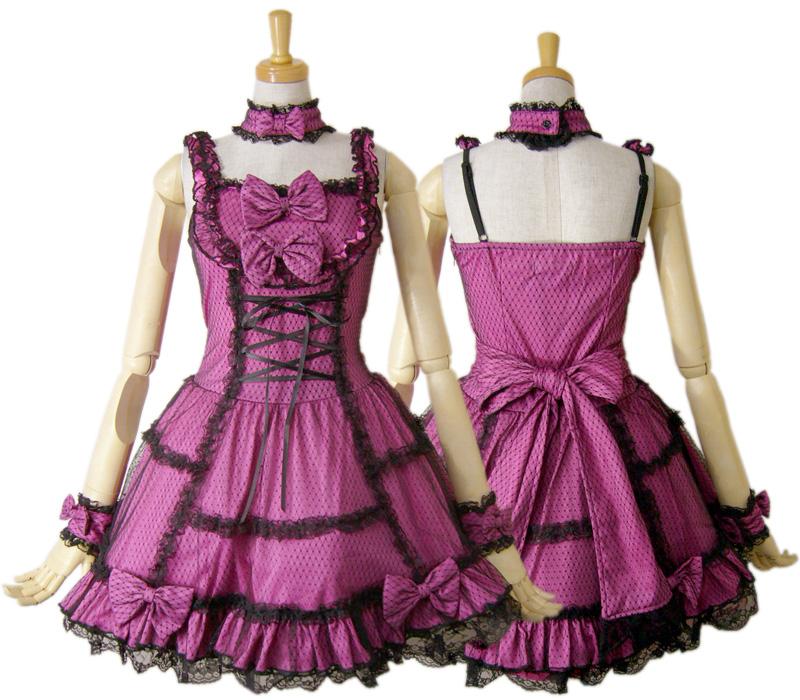 【ハロウィン】【ロリィタ】【ゴスロリ】+G.L.P61036ピンクゴシックレースジャンパースカート