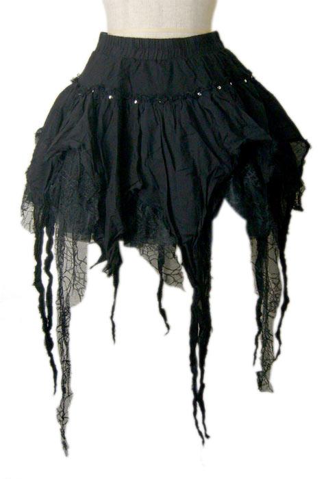 【ハロウィン】【パンク】【ゴシック】+G.L.P61038黒赤クモの巣レーススカート【送料無料】【smtb-MS】