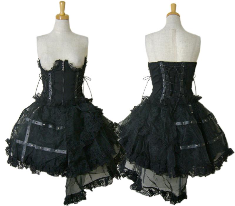 【ハロウィン】【ゴスロリ】【ゴシック】+G.L.P61045黒コルセットレーススカート