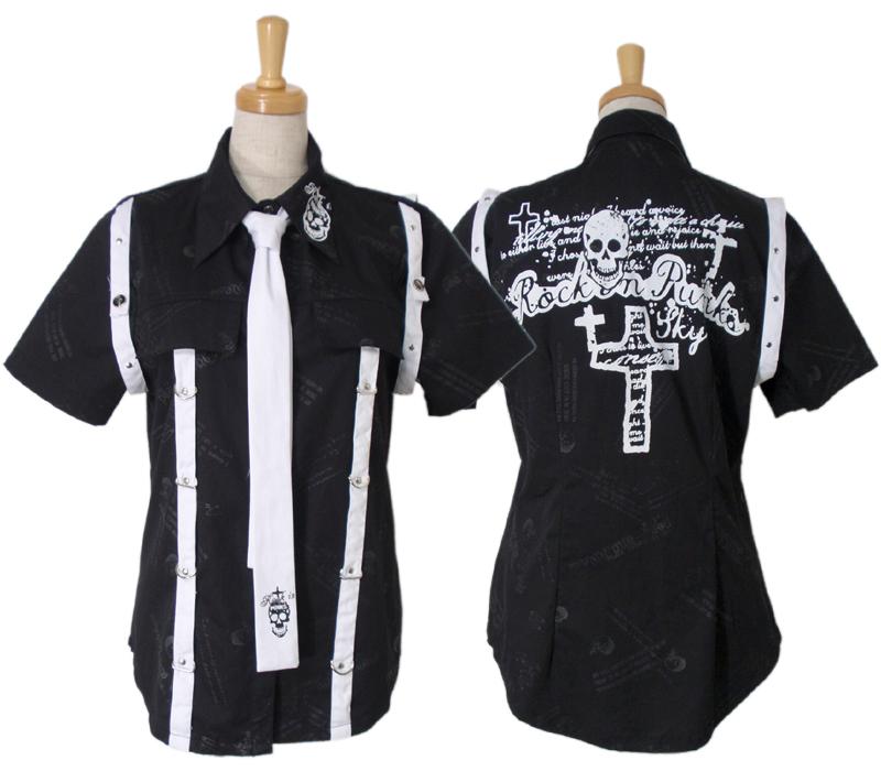 【ハロウィン】【パンク】【ゴシック】+G.L.P71026黒ネクタイ付半袖シャツ