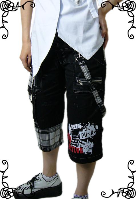【ハロウィン】【ゴシック】【パンク】+G.L.P71015黒白チェック柄七分丈パンツ