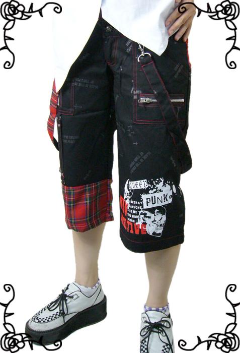 【ハロウィン】【ゴシック】【パンク】+G.L.P71015黒赤チェック柄七分丈パンツ