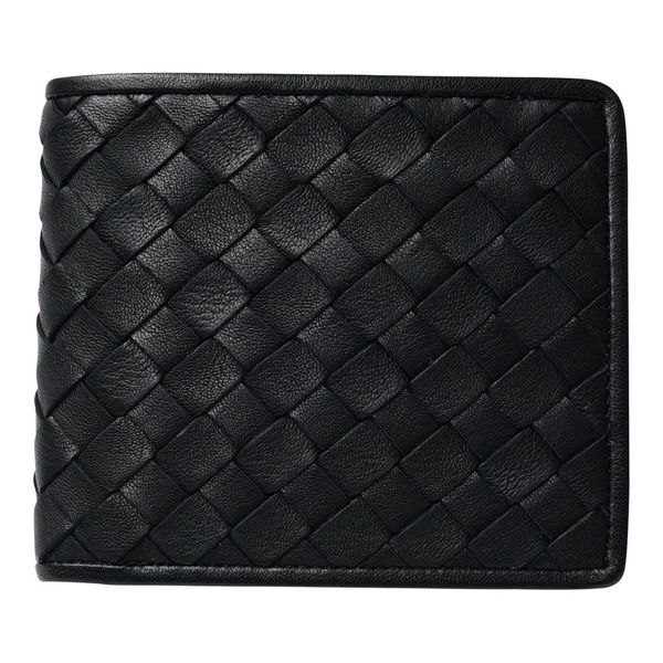 日本製牛革編込み二つ折り財布 (J17-232B) 単品 [キャンセル・変更・返品不可]