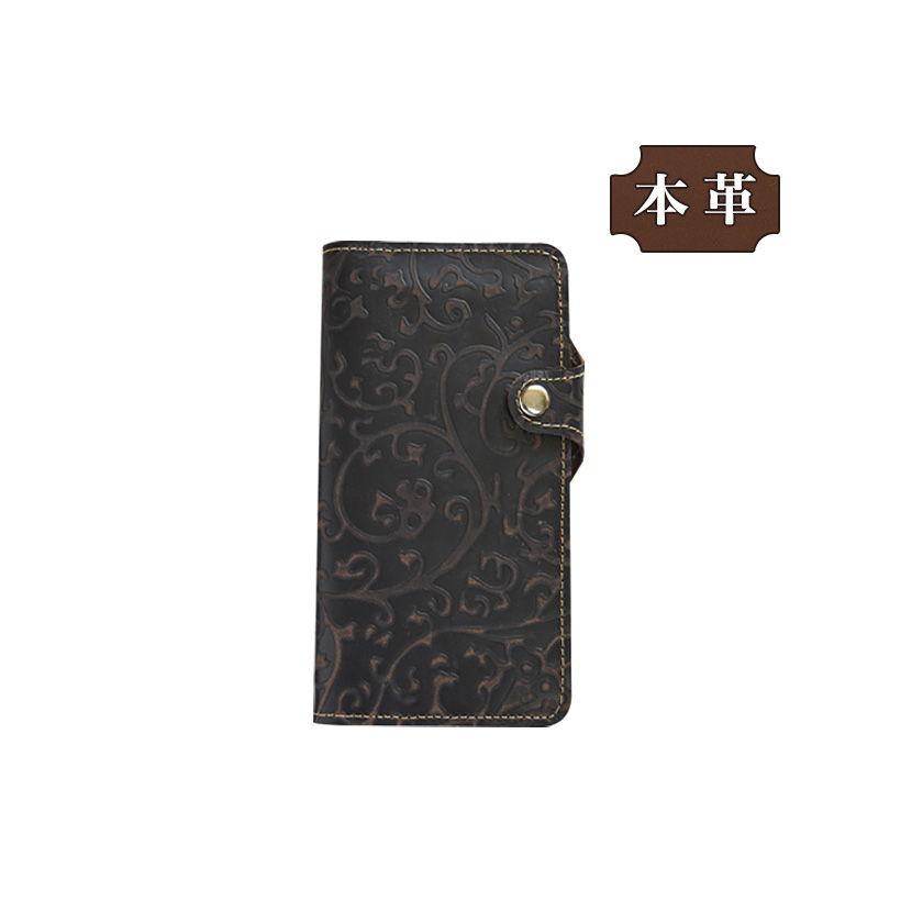 HUAWEI Mate 10 lite SIMフリー 専用 手帳型スマホケース 横開き 本革スナップボタン一体型デザイン 唐草風 おしゃれ ブラウン (LW205UNT) [キャンセル・変更・返品不可][代引不可][同梱不可]