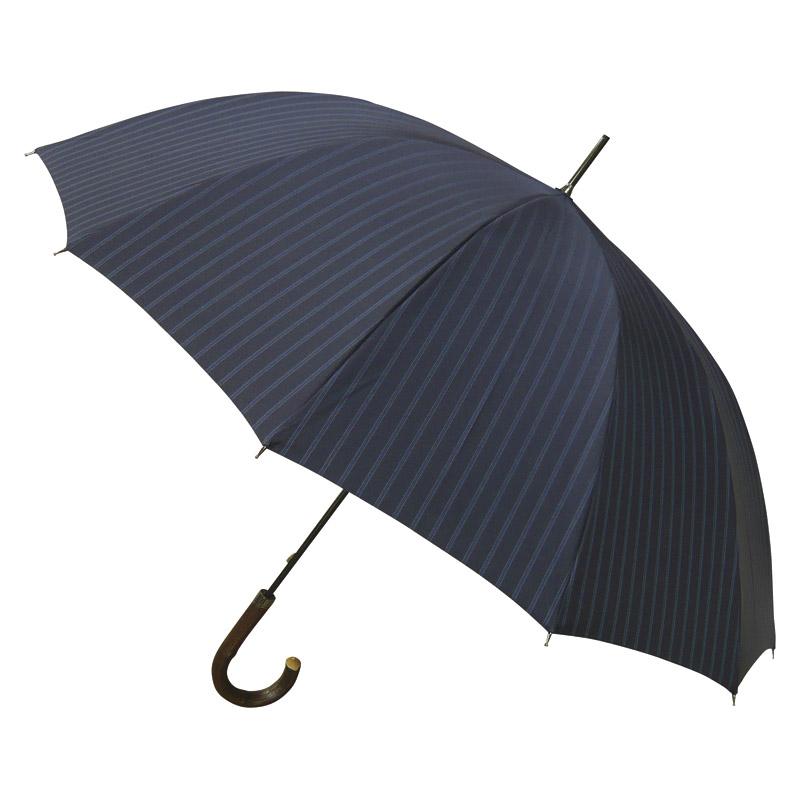 [匠]有村 職人の手作り 雨天兼用紳士先染綾織長傘(UVカット)(ネイビー) (OBAR-6512) [キャンセル・変更・返品不可]
