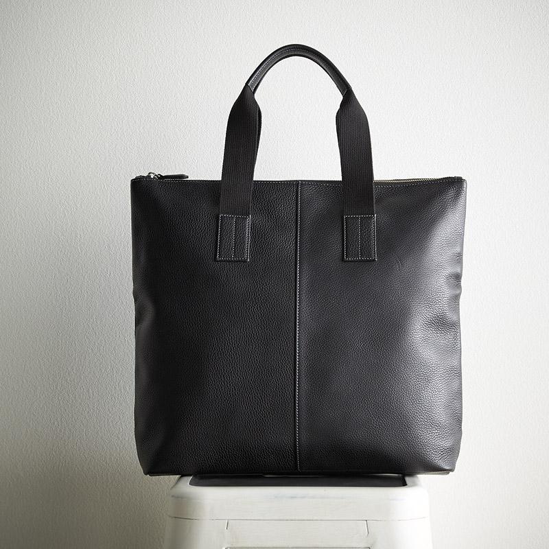 [良品工房] 日本製牛革手作りメンズトートバッグ(ブラック) (B1103-301B) [キャンセル・変更・返品不可]