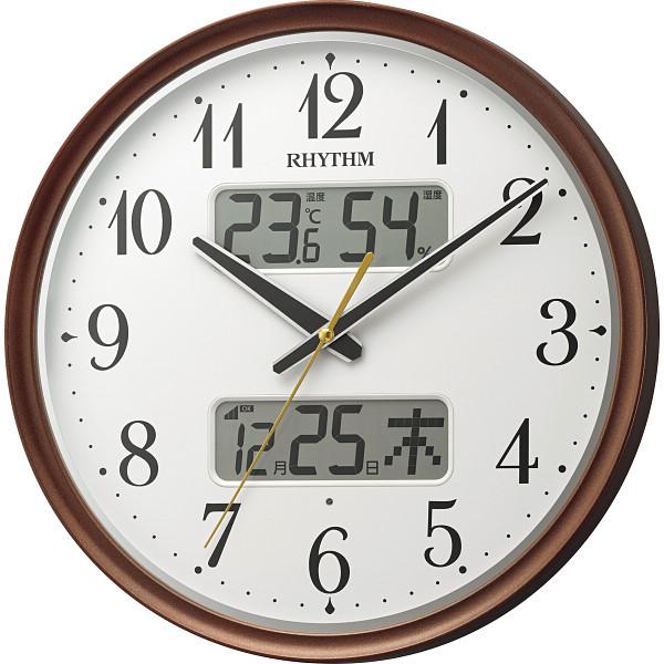 2021年 贈りもの お返しものギフト リズム 温湿度計付電波掛時計 キャンセル 返品不可 8FYA04SR06 早割クーポン 変更 自動点灯ライト付 訳あり商品