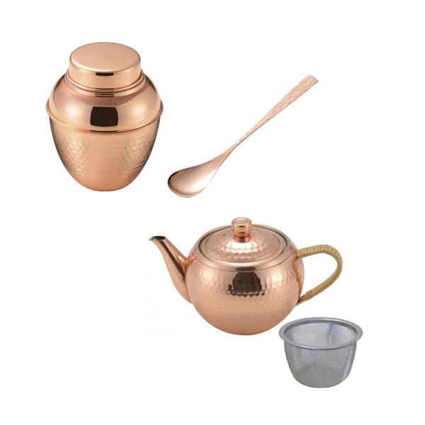 食楽工房 和-NAGOMI- 銅製木箱入り 茶器3点セット 茶壺 後手急須 長茶匙 CB551 [ラッピング不可][代引不可][同梱不可]