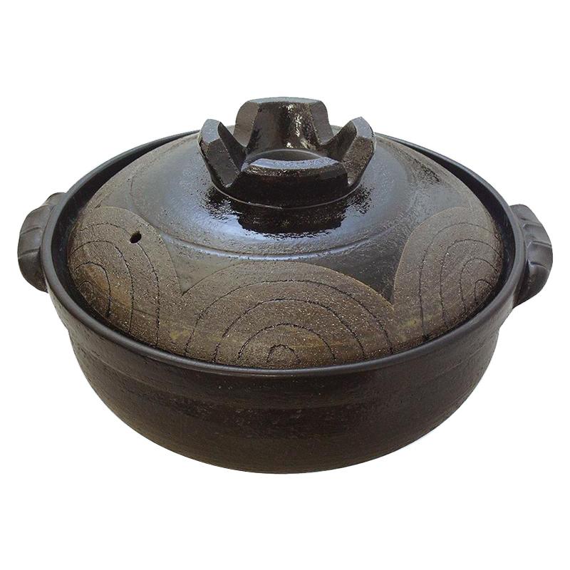日本製 セラミック加工IH土鍋(IH・直火両用) 黒釉波紋 9号 7126-1855