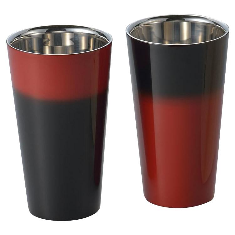 漆磨 2重構造ストレートカップ(1客) 手塗り仕上げ 黒彩・SCW-L601 [ラッピング不可][代引不可][同梱不可]
