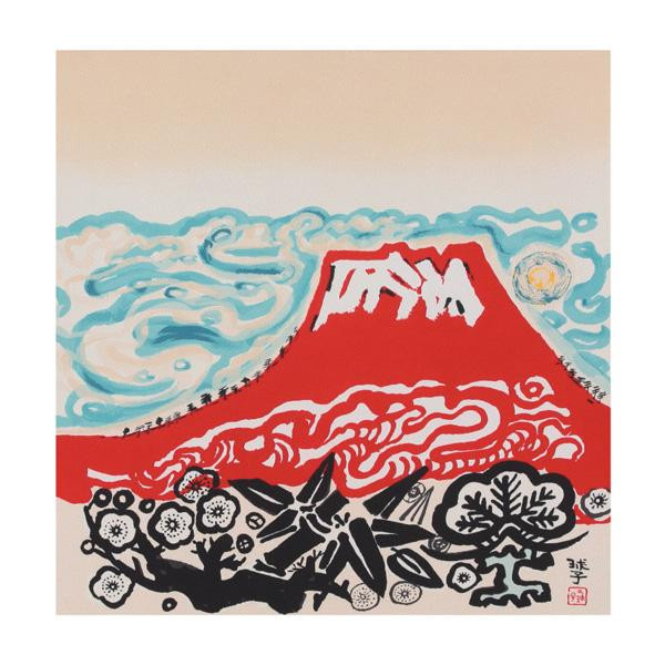宮井 ふろしき 名作ふろしき 絹75cm幅 片岡球子 雲海に富士山 11-5429-47