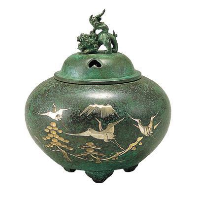 高岡銅器 銅製香炉 能作吉秀作 平丸獅子蓋香炉 松鶴 133-01