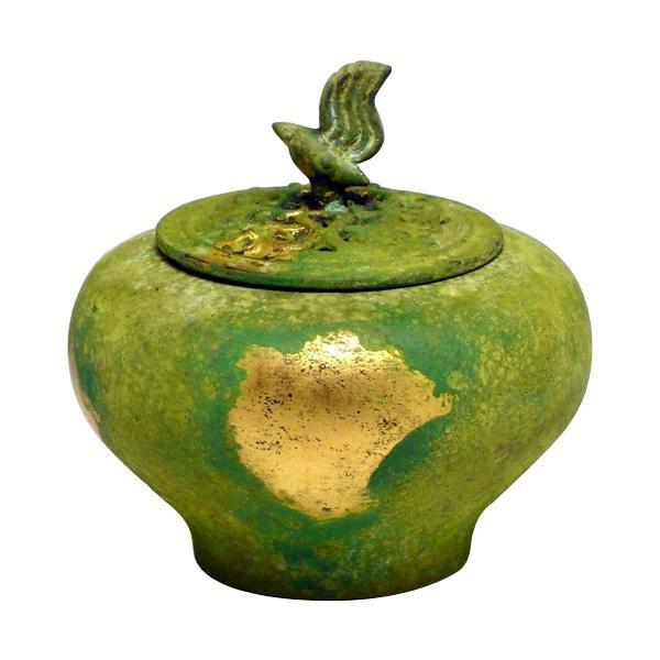 高岡銅器 銅製香炉 能作吉秀作 小鳥香炉 本金青銅色 134-07