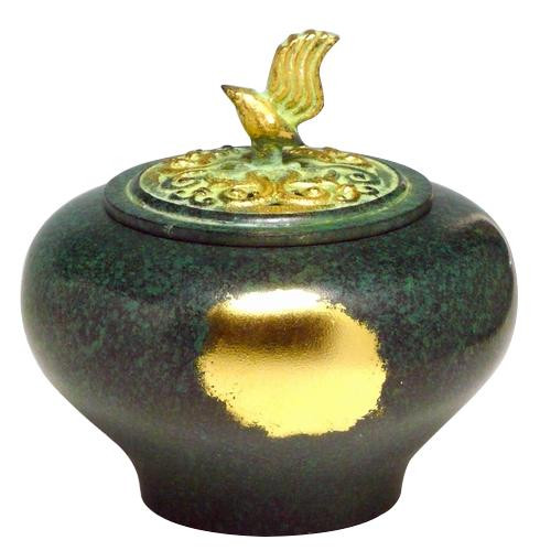 高岡銅器 銅製香炉 能作吉秀作 小鳥香炉 緑金色 134-08
