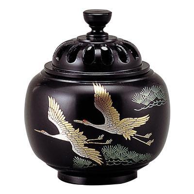 高岡銅器 銅製香炉 玉胴型香炉 双鶴 蒔絵 135-04