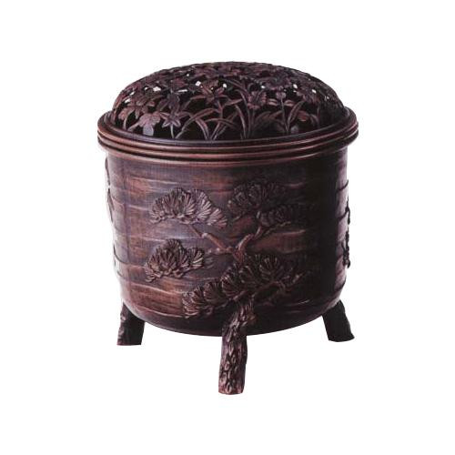 高岡銅器 松竹梅香炉 宣徳色 161-04