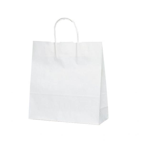 T-6 自動紐手提袋 紙袋 紙丸紐タイプ 320×110×330mm 200枚 白無地 1698 [ラッピング不可][代引不可][同梱不可]