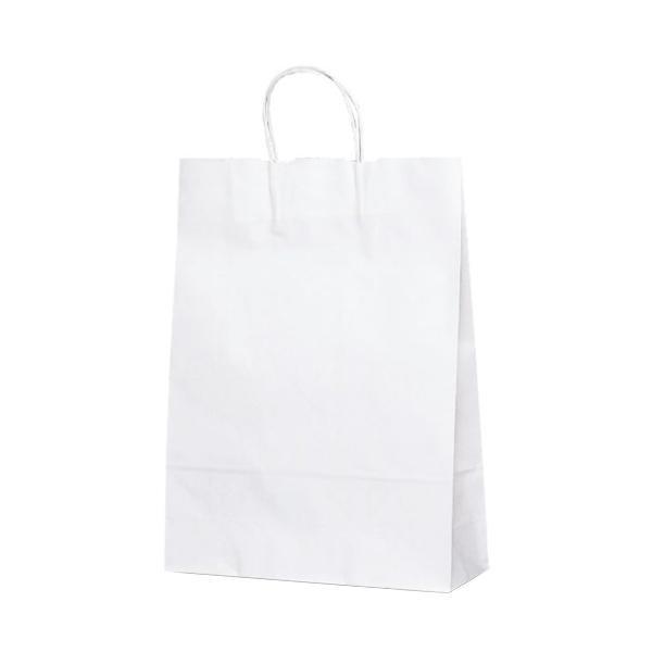 T-8 自動紐手提袋 紙袋 紙丸紐タイプ 320×110×430mm 200枚 白無地 1898 [ラッピング不可][代引不可][同梱不可]