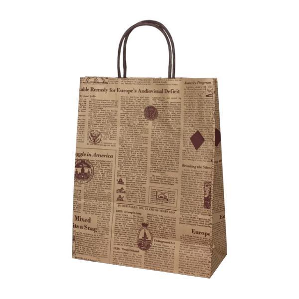 T-X 自動紐手提袋 紙袋 紙丸紐タイプ 260×110×330mm 200枚 リブル(ブラウン) 1563 [ラッピング不可][代引不可][同梱不可]
