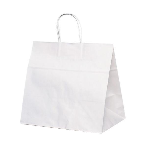 T-11W 自動紐手提袋 紙袋 紙丸紐タイプ 340×220×320mm 200枚 白無地 1198 [ラッピング不可][代引不可][同梱不可]