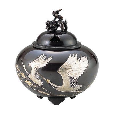 高岡銅器 銅製香炉 正晴作 平丸獅子蓋香炉 双鶴 132-01