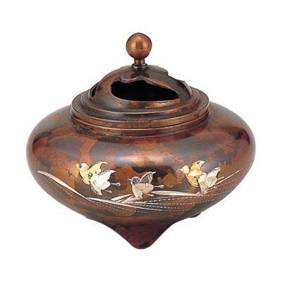 高岡銅器 銅製香炉 正晴作 平型香炉 波千鳥 133-07