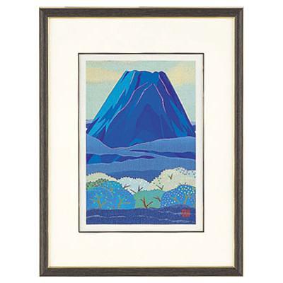 高岡銅器 めでたき富士風水 彫金パネル 金森弘司作 青富士に森林 小 143-08