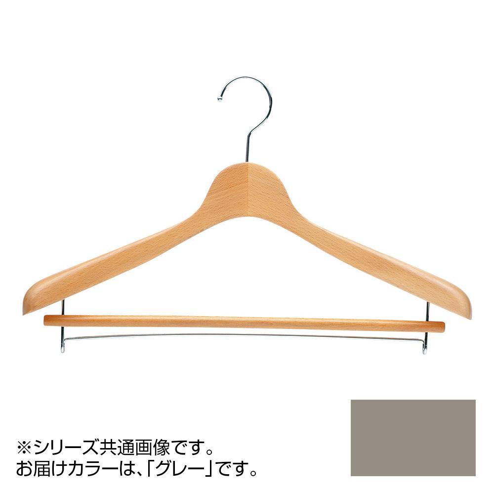 日本製 木製ハンガーメンズ用 T-4121 グレー 5本セット バー付 肩幅42cm×肩厚4cm