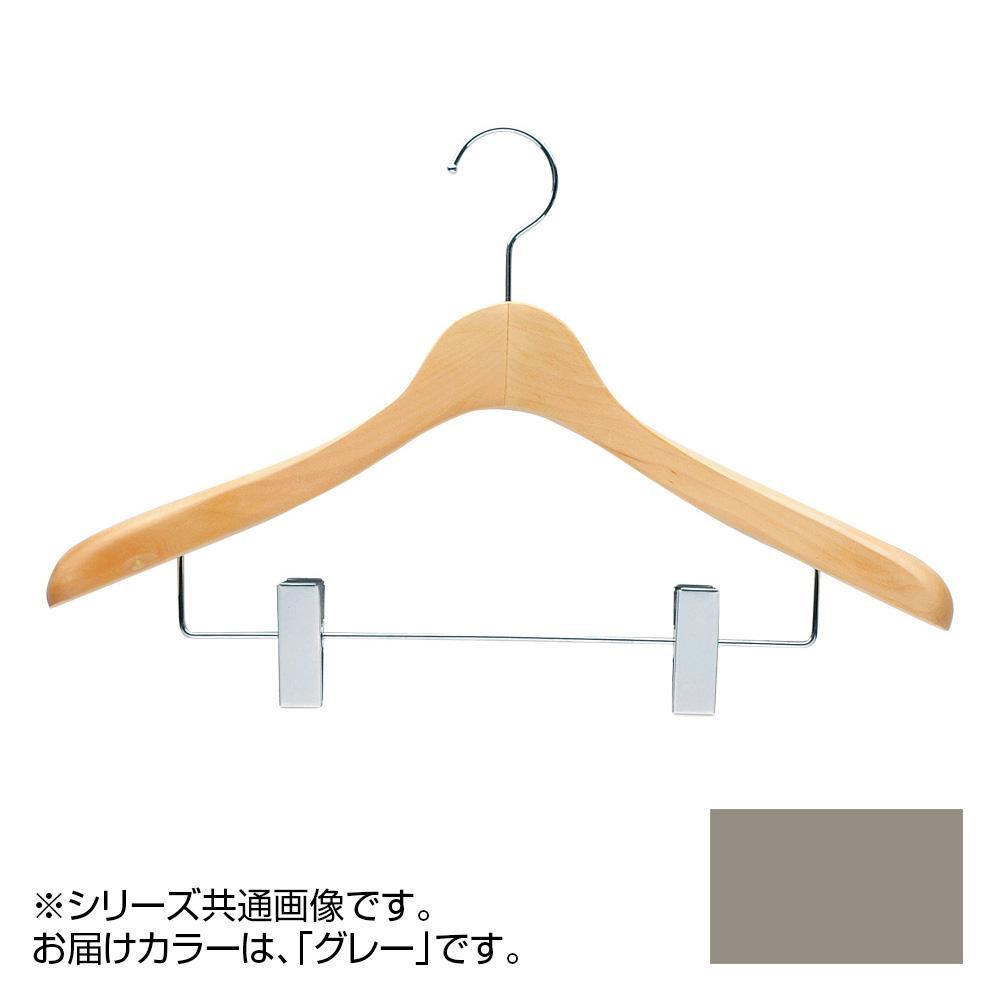 日本製 木製ハンガーメンズ用 T-4123 グレー 5本セット クリップ付 肩幅42cm×肩厚4cm