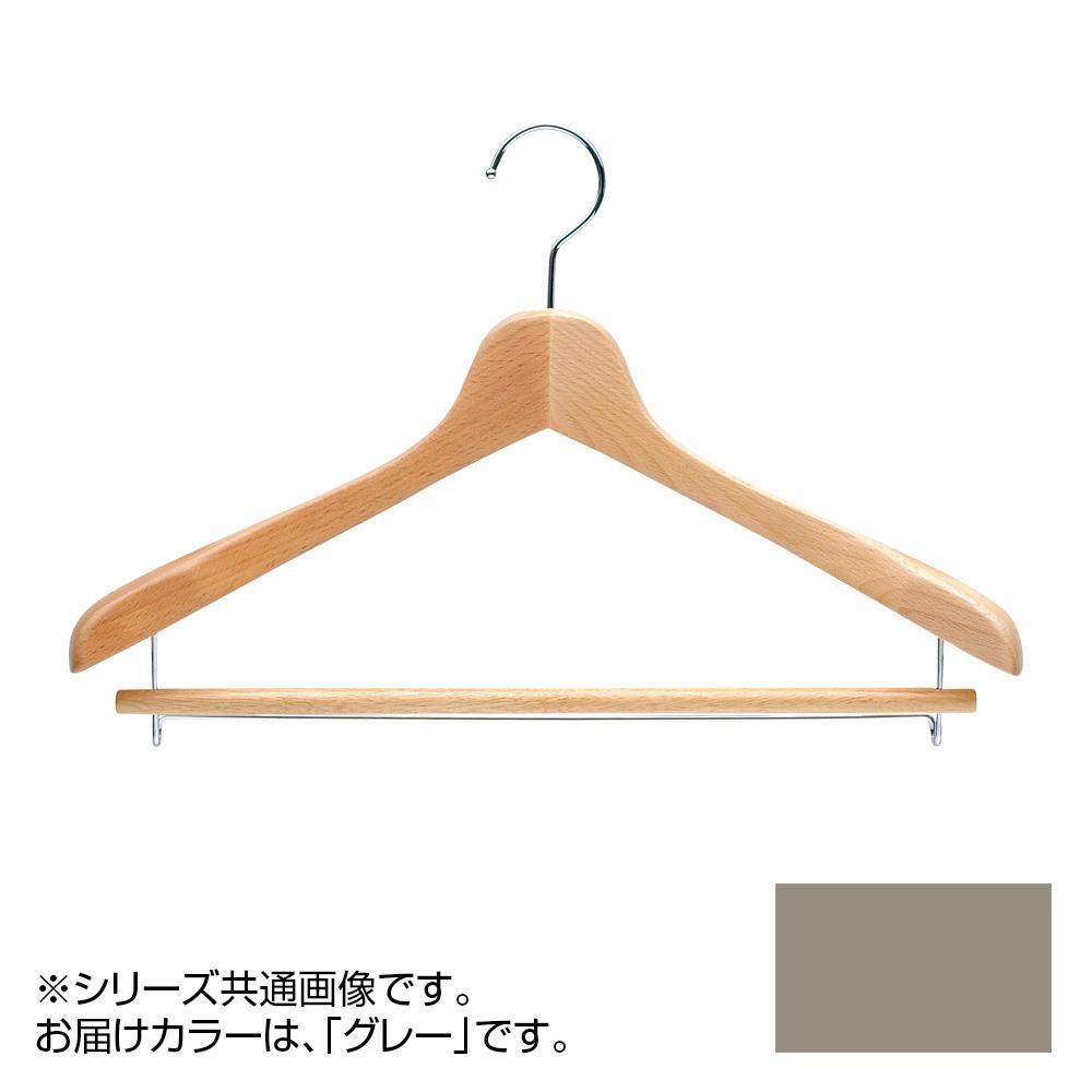 日本製 木製ハンガーメンズ用 T-5041 グレー 5本セット 肩幅42cm×肩厚4cm