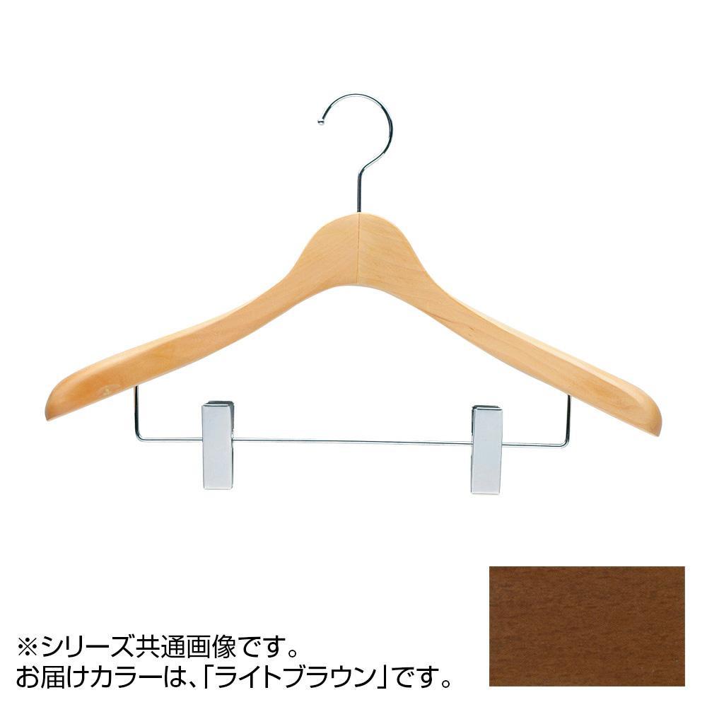 日本製 木製ハンガーメンズ用 ライトブラウン 5本セット T-4123 クリップ付 肩幅42cm×肩厚4cm