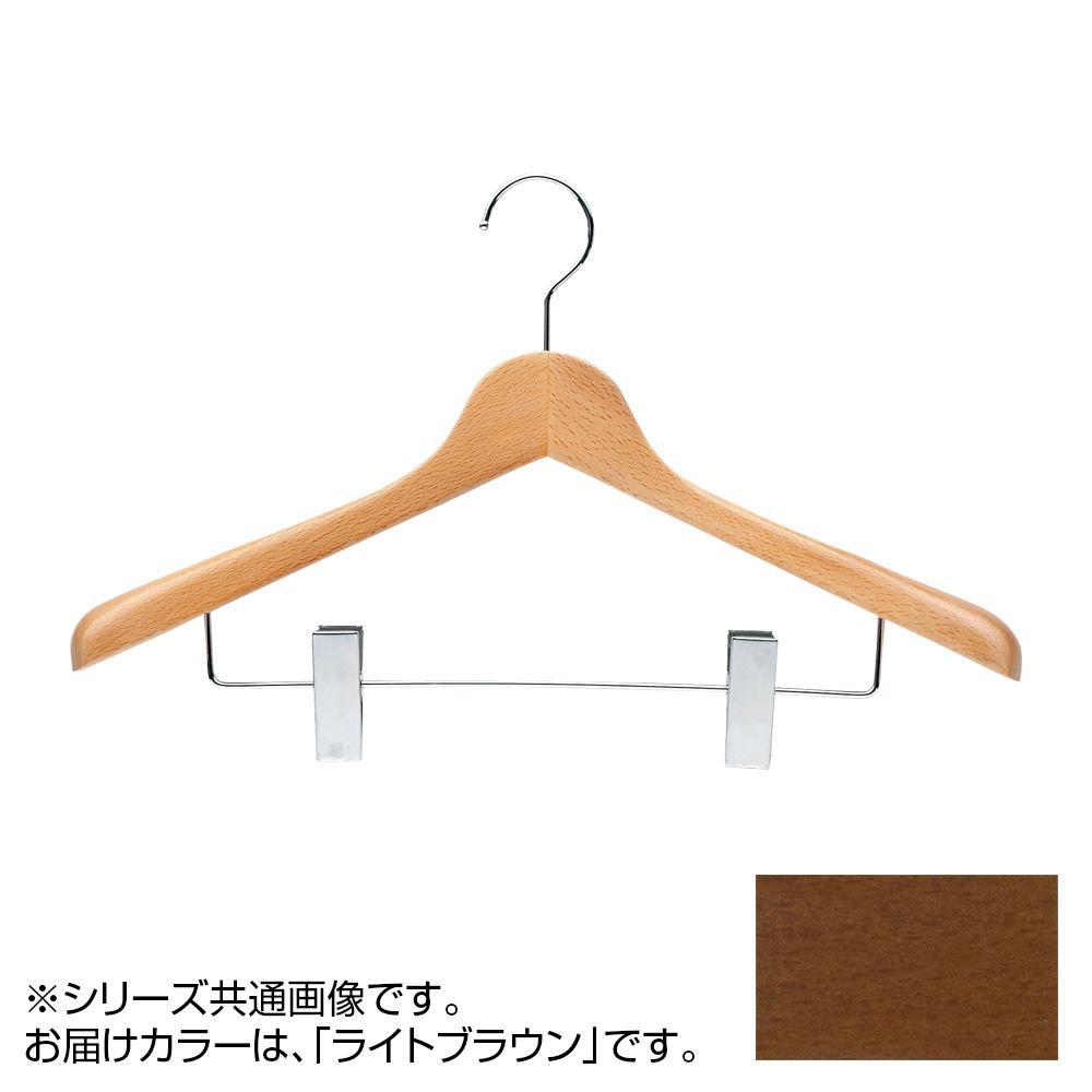 日本製 木製ハンガーメンズ用 ライトブラウン 5本セット T-5283 クリップ付 肩幅42cm×肩厚5.5cm