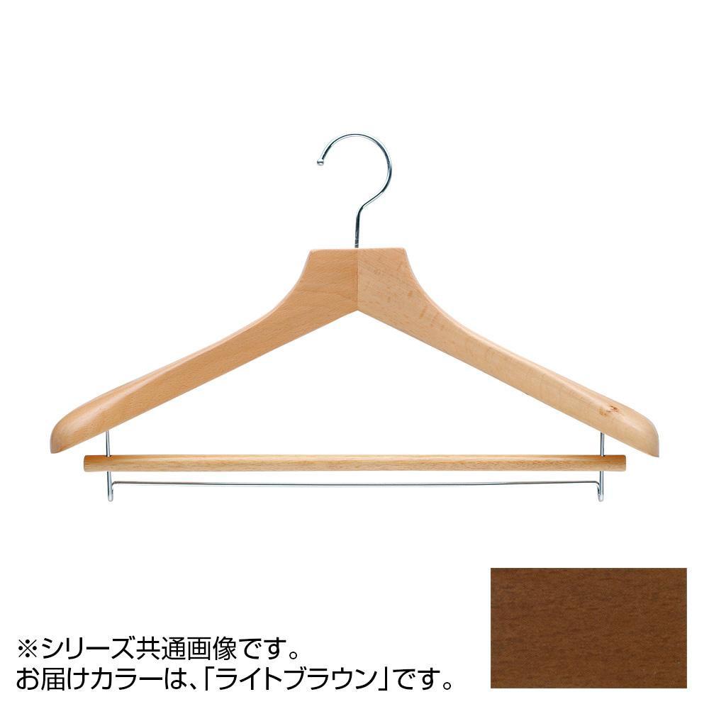 日本製 木製ハンガーメンズ用 ライトブラウン 5本セット T-5251 バー付 肩幅42cm×肩厚4.5cm