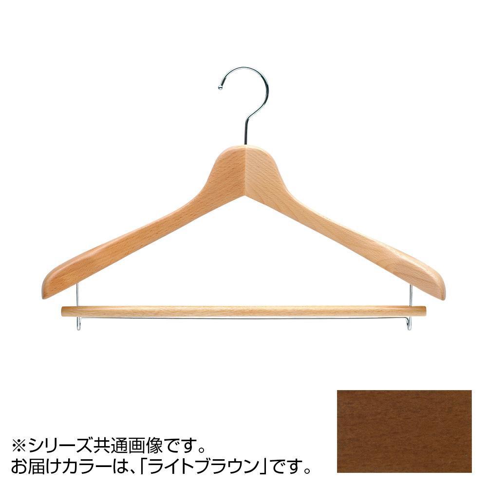 日本製 木製ハンガーメンズ用 ライトブラウン 5本セット バー付 T-5041 肩幅42cm×肩厚4cm