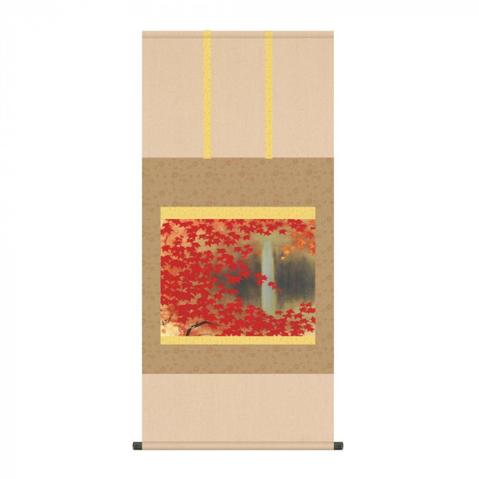 掛軸 川端龍子「滝に紅葉」 KZ2G9-071 54.5×115cm [ラッピング不可][代引不可][同梱不可]